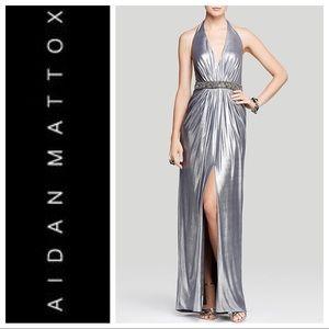 Aidan Mattox Silver Halter Beaded Evening Gown